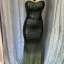Womend Gorgeous Green Strapless Sequins Long Dress Size  4 Thumbnail