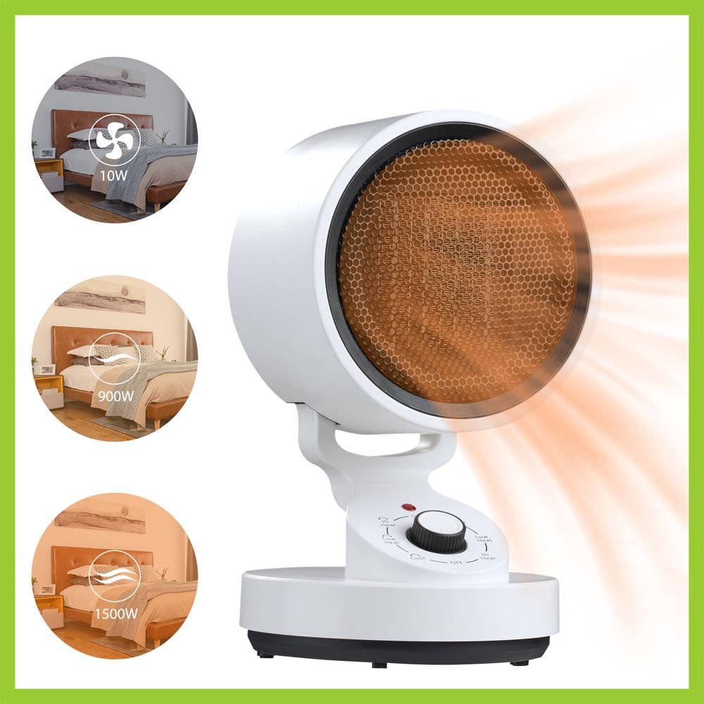 (NEW) 1500W Tabletop Portable Oscillating Ceramic Heater with Cooling Fan For Offices, Bedrooms, Classrooms, Basements