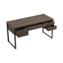 Wooden Writing Desk with 4 Drawers and Metal Base, Brown, Saltoro Sherpi Thumbnail