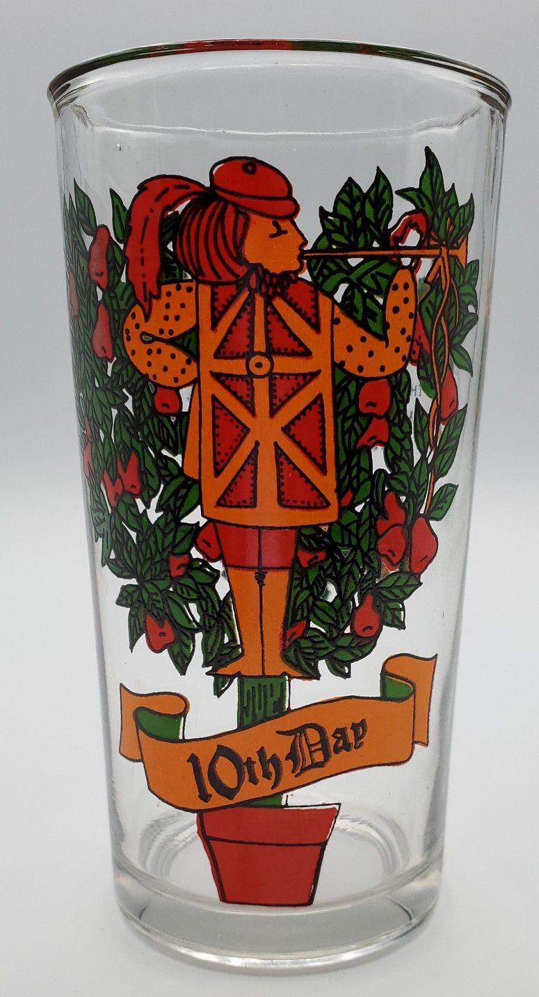 12 Days Of Christmas Tumbler Vintage Original Day 10 Ten Pipers Piping