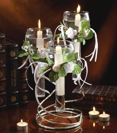 Available Now - Studio Silversmiths Metal Floating Votive Candle Holder - 3 Candle Holder and Single Candle Holders