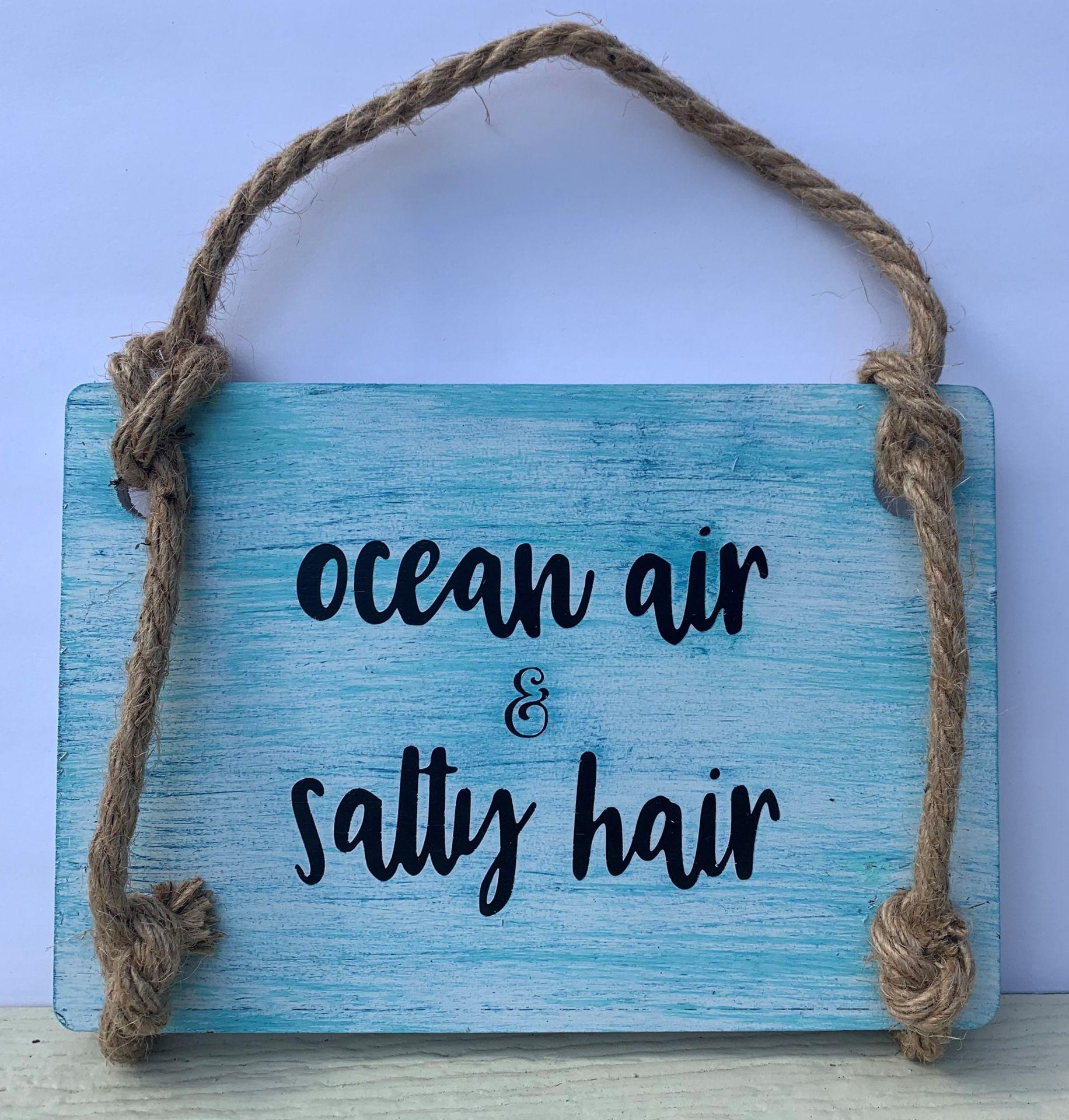 Ocean Air & Salty Hair Painted Wood Sign