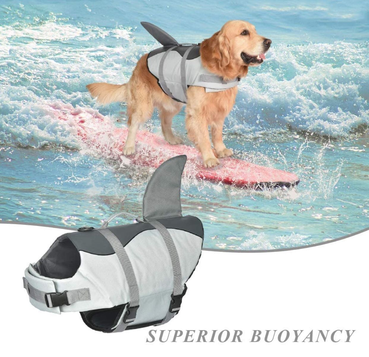 Dog Shark Life, Jacket Dog Life Vest for Swimming, Pet Life Preserver with Rescue Handle, Size L
