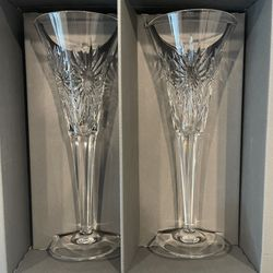 Waterford Millennium Collection Toast To The Year 2000 Champagne Flutes Complete Rare Set Thumbnail
