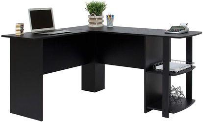 Functional L-Shaped Computer Desk with 2 Open Bookshelves, Black Thumbnail
