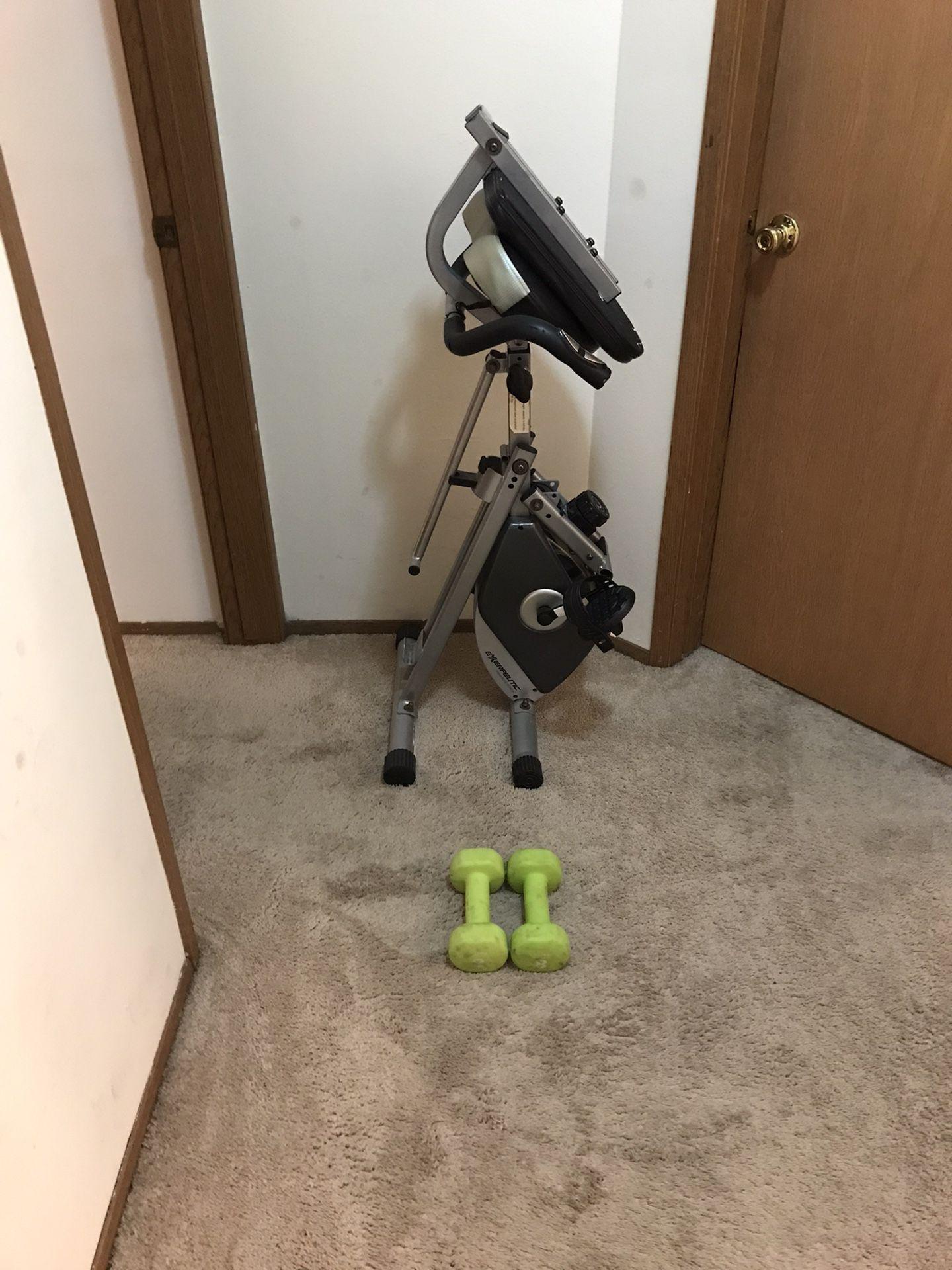 Folding Recumbent Bike + Pair of 8 LB Dumbbells
