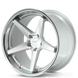 """20"""" Staggered Ferrada FR3 Silver Machined with Chrome Lip Rims Thumbnail"""