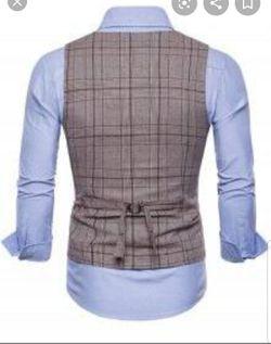 New U-shaped plaid print double the high low waistcoat Thumbnail