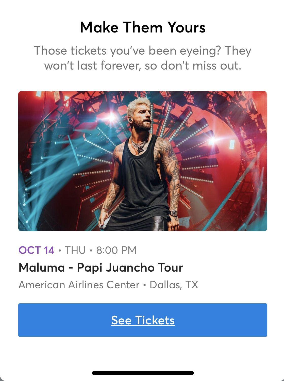 Maluma Tickets 4 Tickets Row A Each 120