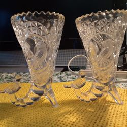 TWO GORGEOUS LOOKING  BIRD  VASES  CRYSTAL GLASS  Thumbnail