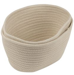 Woven Storage Baskets - 3-Pack Cotton Rope Baskets, Decorative Hampers, Collapsible Rope Storage Bins for Toys, Towels, Blankets, Nursery, Kids Room, Thumbnail
