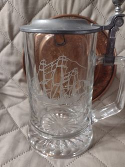 Nice Vintage Old Spice Etched Glass Stein / Mug A W L E Pewter Lid Thumbnail
