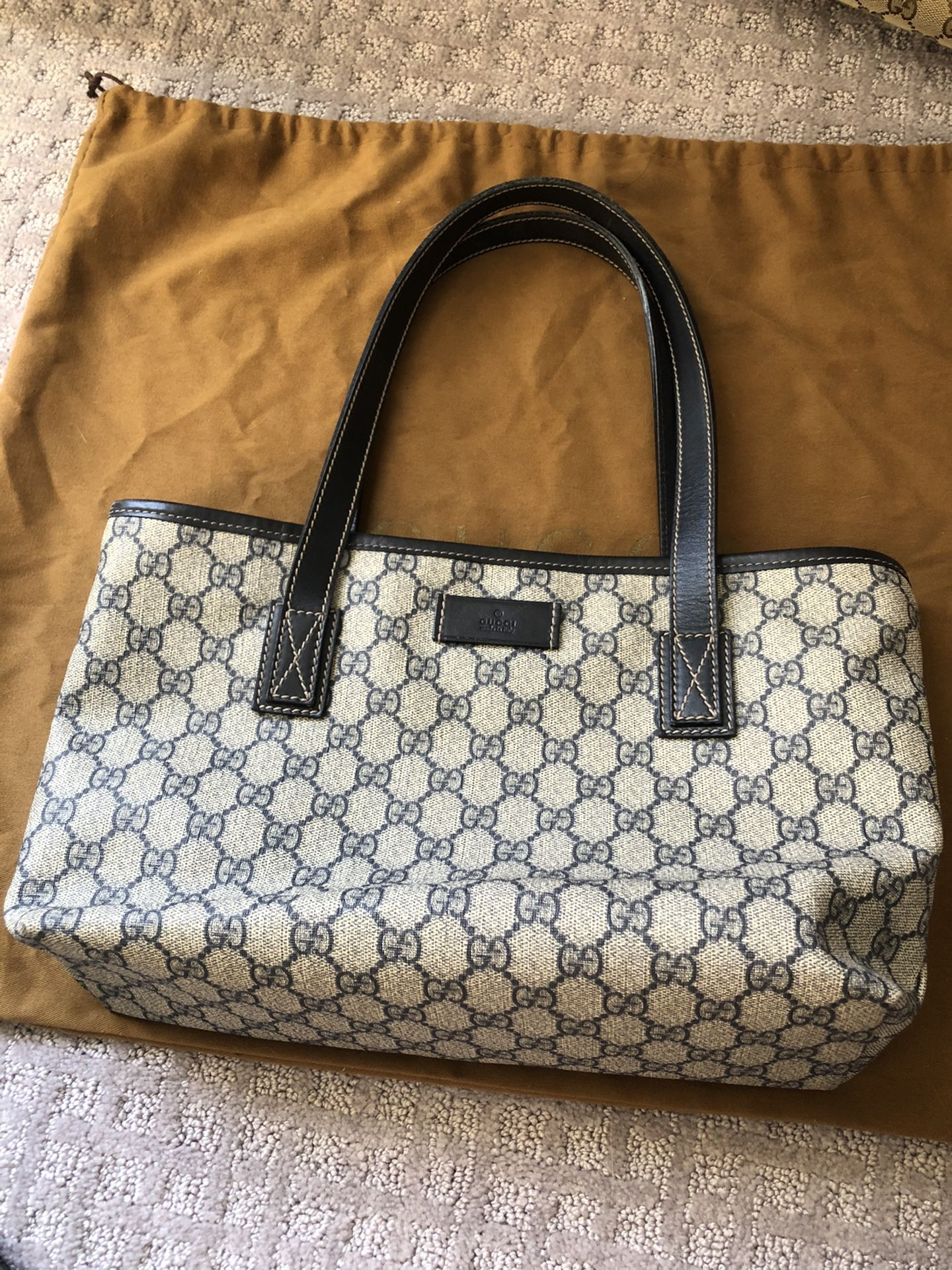 Authentic Gucci Tote Small With Blue Leather Straps