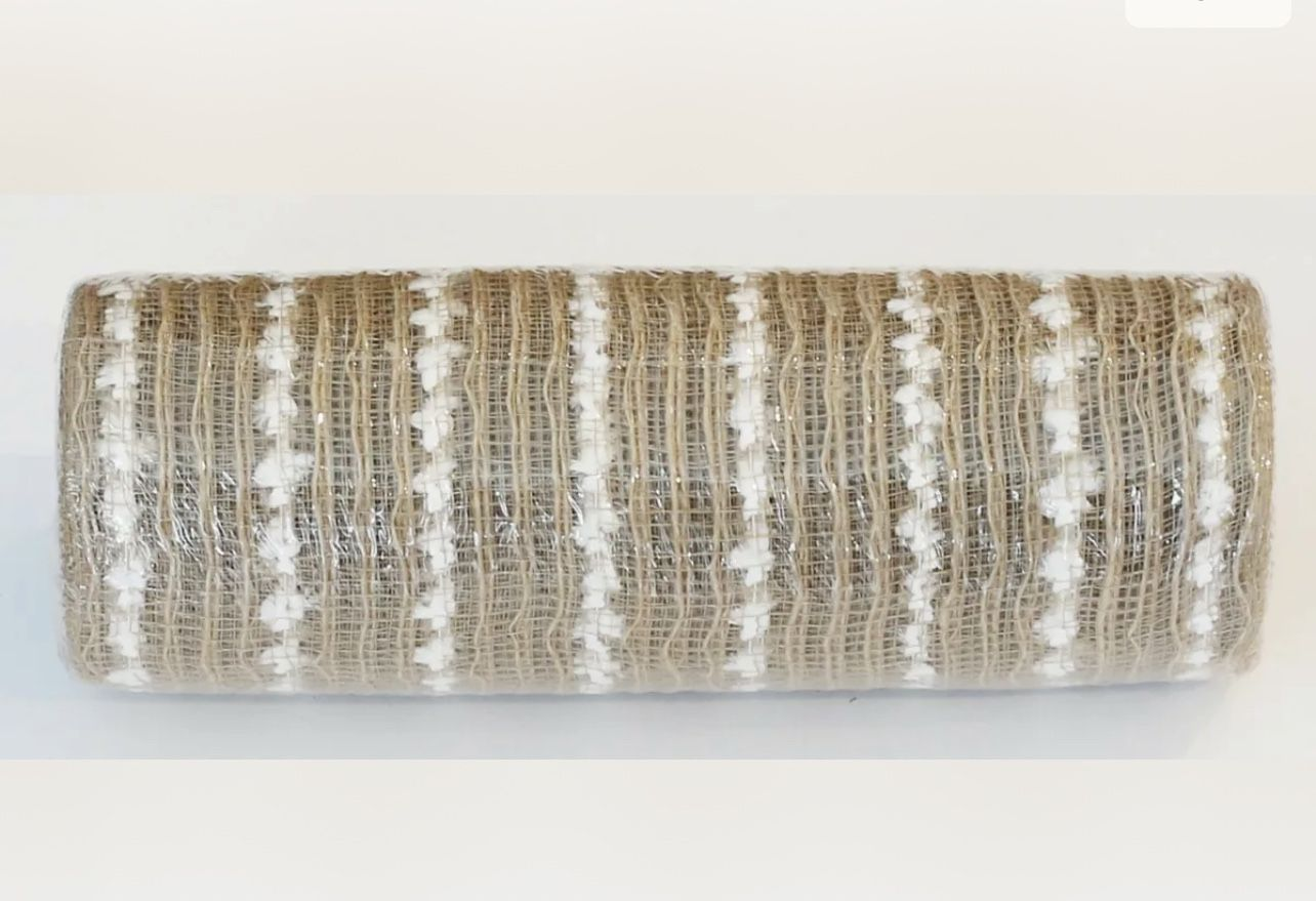"""Deco Mesh 10"""" Snowball NATURAL w/white Snowball Stripe. Very Luxe 30' Waterproof-2ROLLS"""