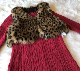 Catherine Malandrino Sweater Dress w/ Faux Fur Vest *24 Months  Thumbnail