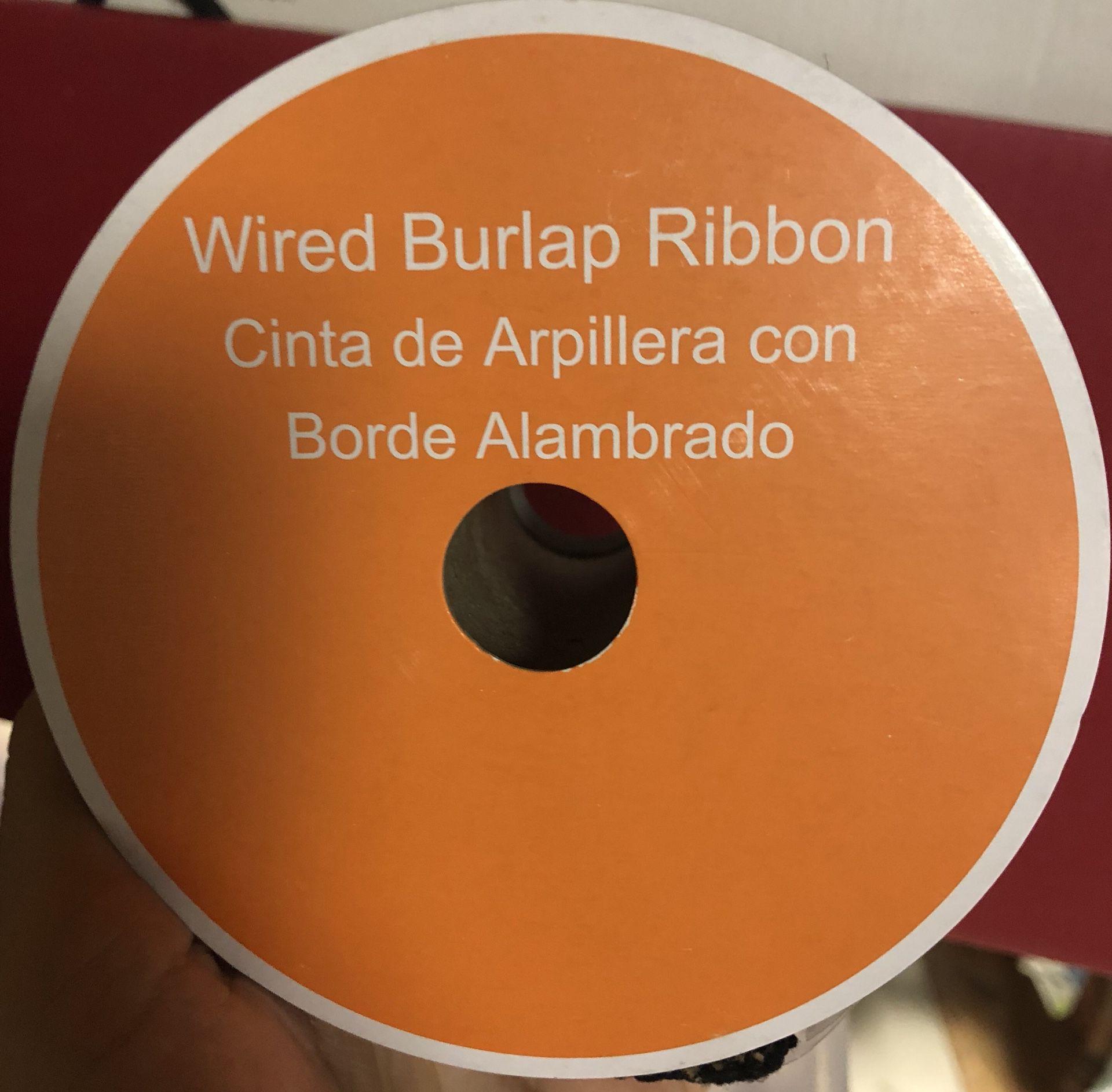 Halloween theme wired burlap ribbon
