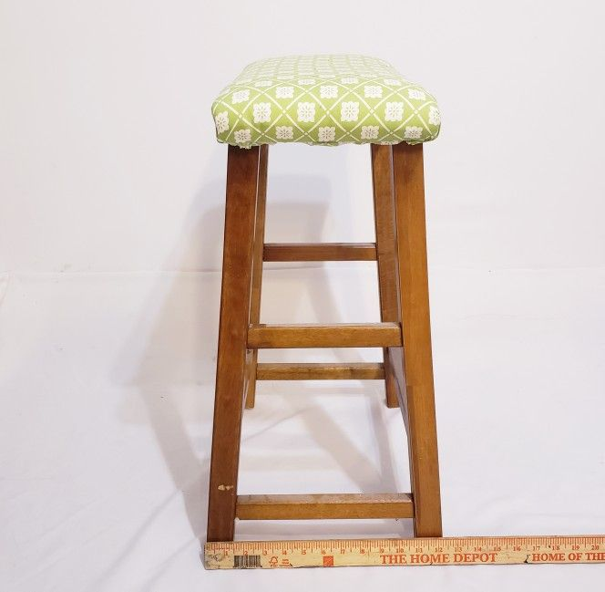 Solid Wood Backless Stool  Padding & Cover Added (Can be Removed) Counter Bar Kitchen Seat Chair