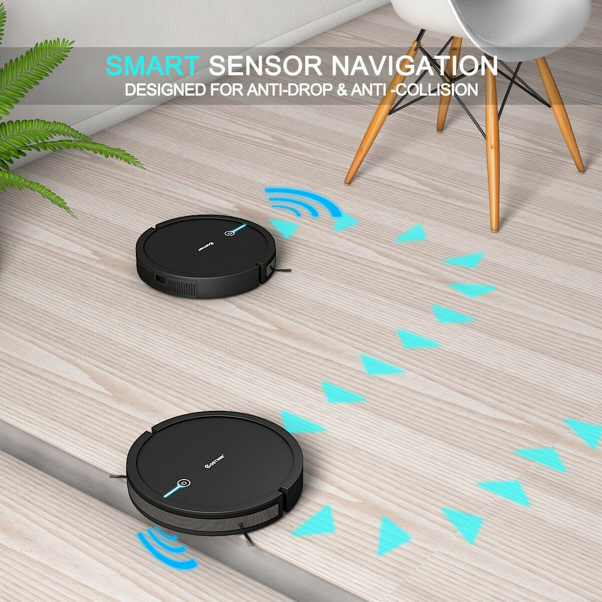 Costway Robot Vacuum Cleaner Self-Charge App Voice Control Filter Water Tank Black