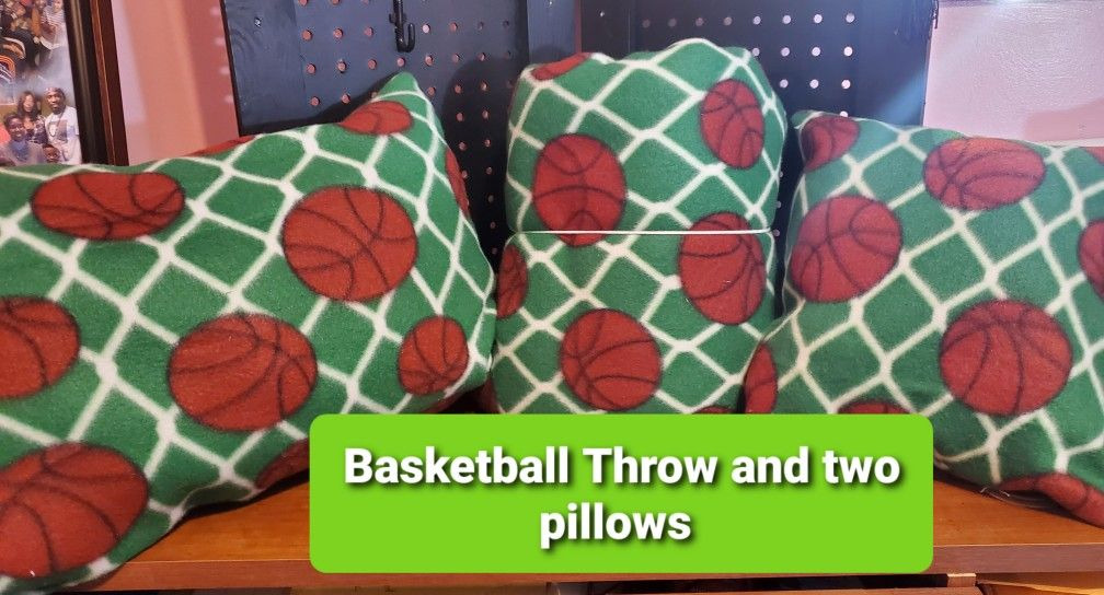 Basketball Throw Blanket and two pillows