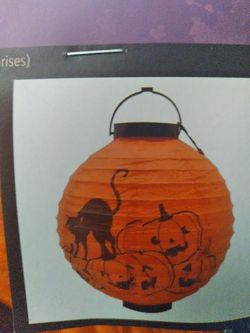 Halloween Decorations Paper Latern With Bats Lights Up Thumbnail