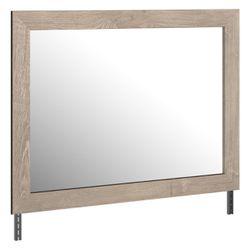 Bedroom Mirror with Grains and Rectangular Encasing, Oak Brown, Saltoro Sherpi Thumbnail