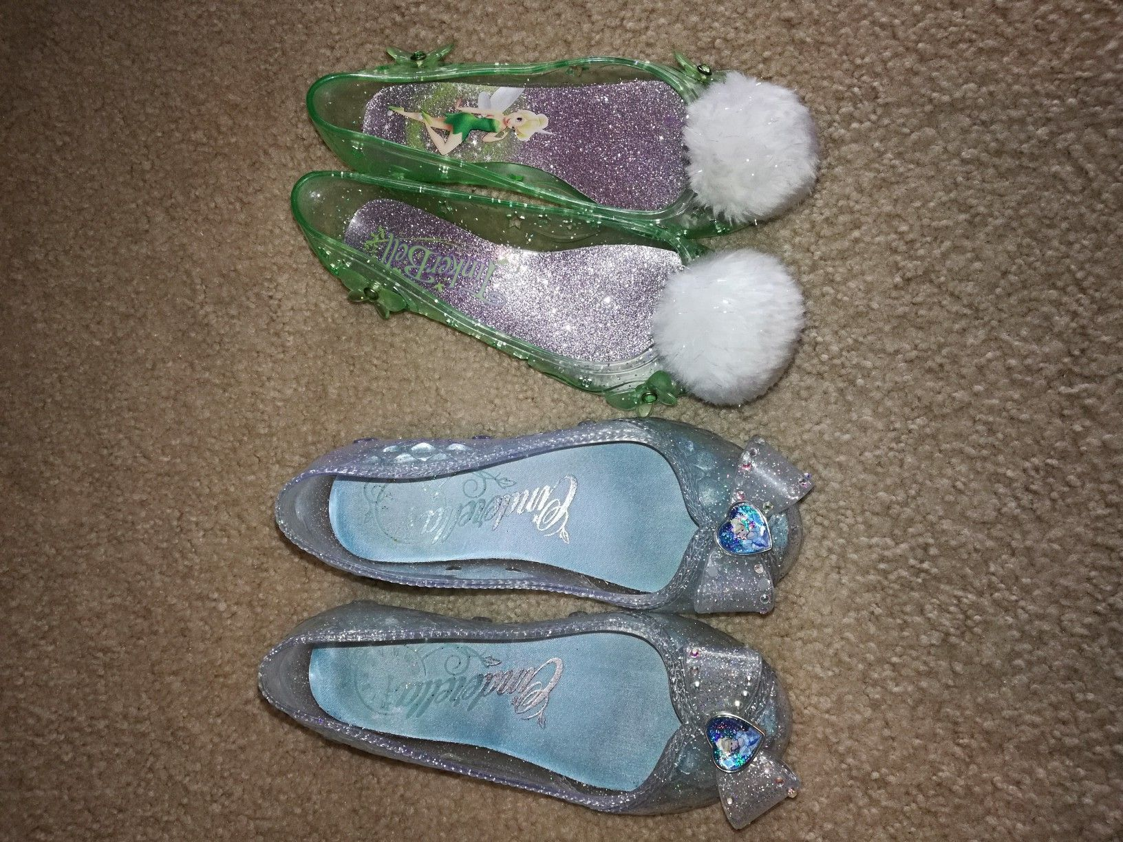 Disney Store Cinderella and Tinkerbell shoes Size 13/1