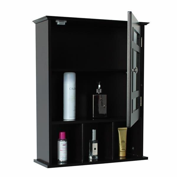 Single Door Three Compartment Storage Bathroom Cabinet - Grey-brown