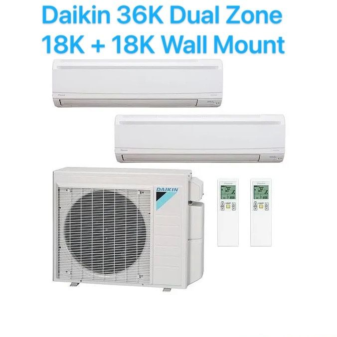 Daikin 36000BTU 36K Dual Zone AC System With 18000BTU Air Handler