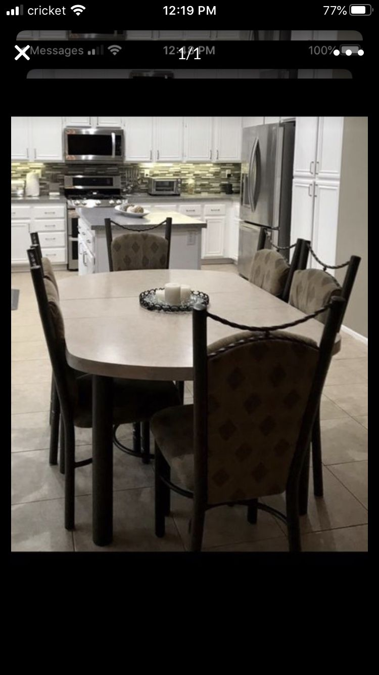 Kitchen Table Set with 6 Chairs and Table Extension