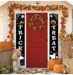 Outdoor Halloween Decorations Decor - Front Door Trick or Treat Banner Hanging Halloween Porch Decorations Outdoor Clearance Signs for Home Welcome Si Thumbnail
