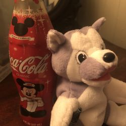 Vintage 1998 Coca Cola husky Plush & New/ Never Opened 75th Mickey Anniversary 8 Oz Bottle- Good Condition - See Pics! Good Deal! Thumbnail