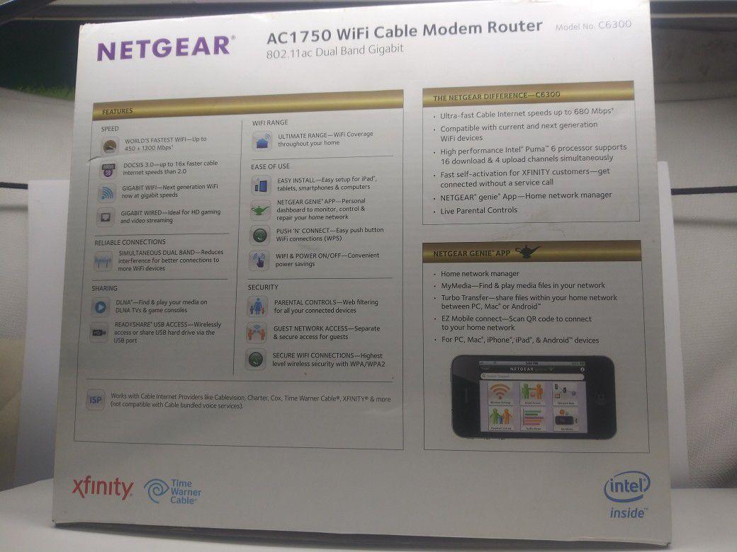 Netgear AC1750 wifi cable modem router