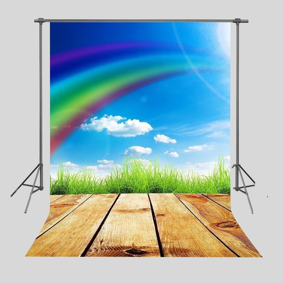 Background 5x7ft Rainbow and Wood Floor Backdrop Photo Booth Photography Props