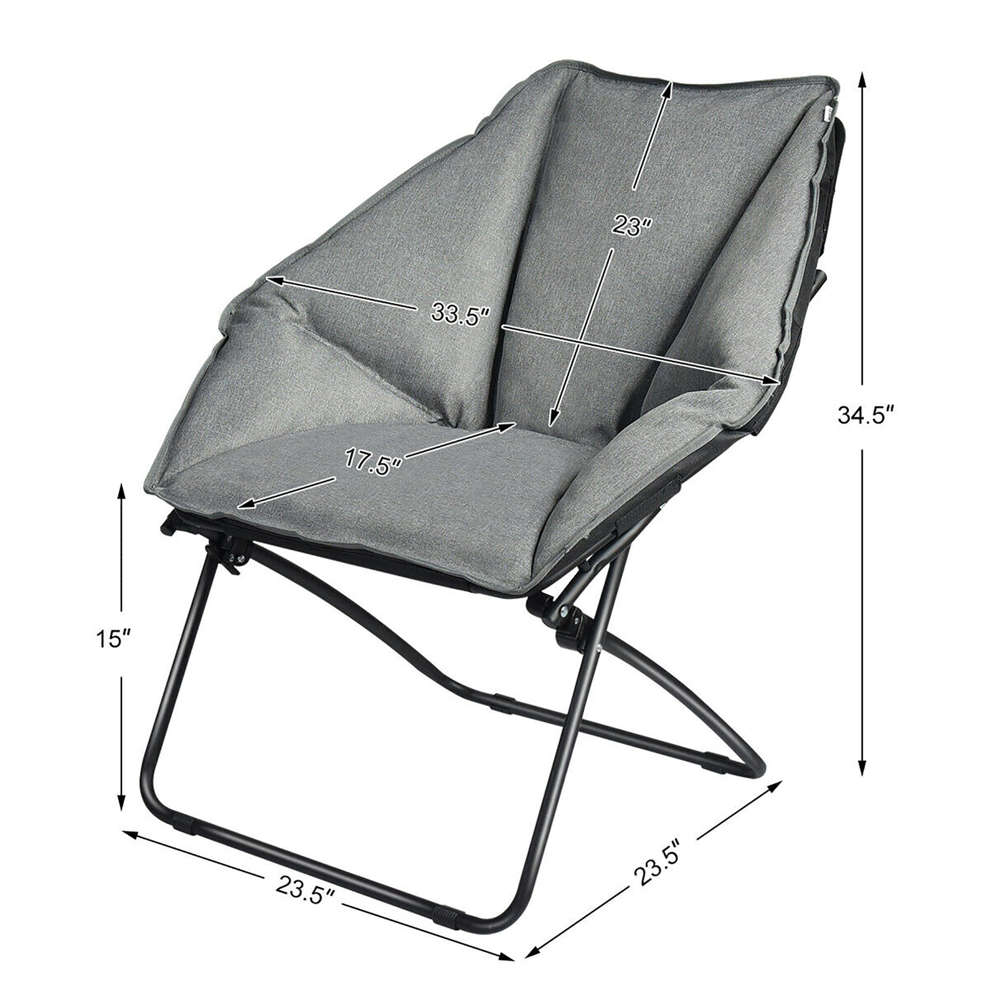 Costway Folding Saucer Padded Chair Soft Wide Seat w/ Metal Frame Lounge Furniture