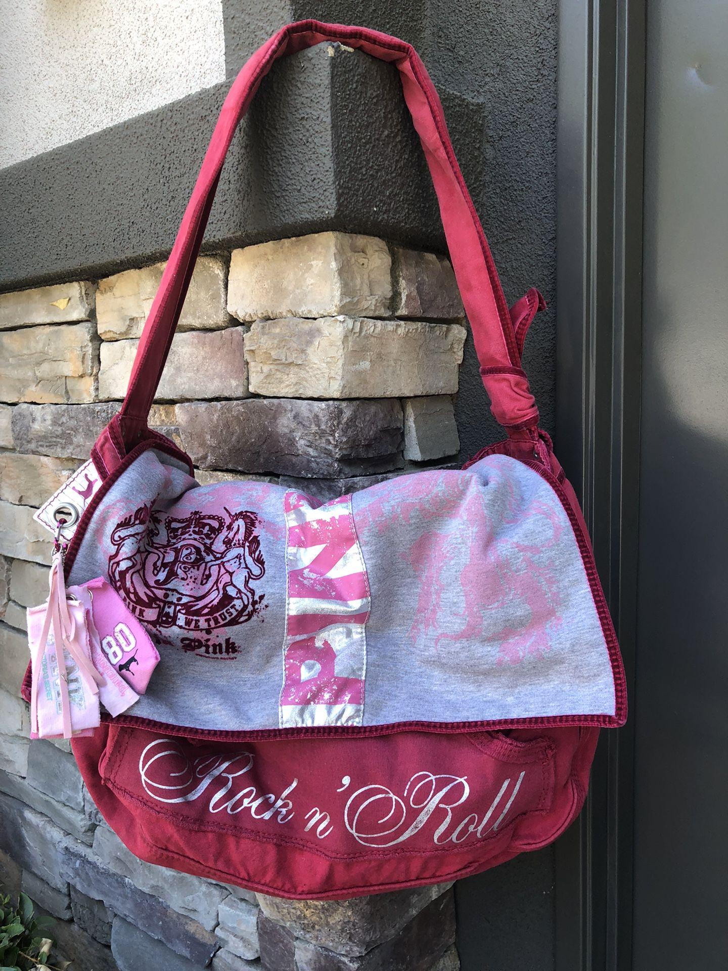 Victoria's Secret Love PINK & Rock N' Roll Large Crossbody Shoulder Duffle Bag