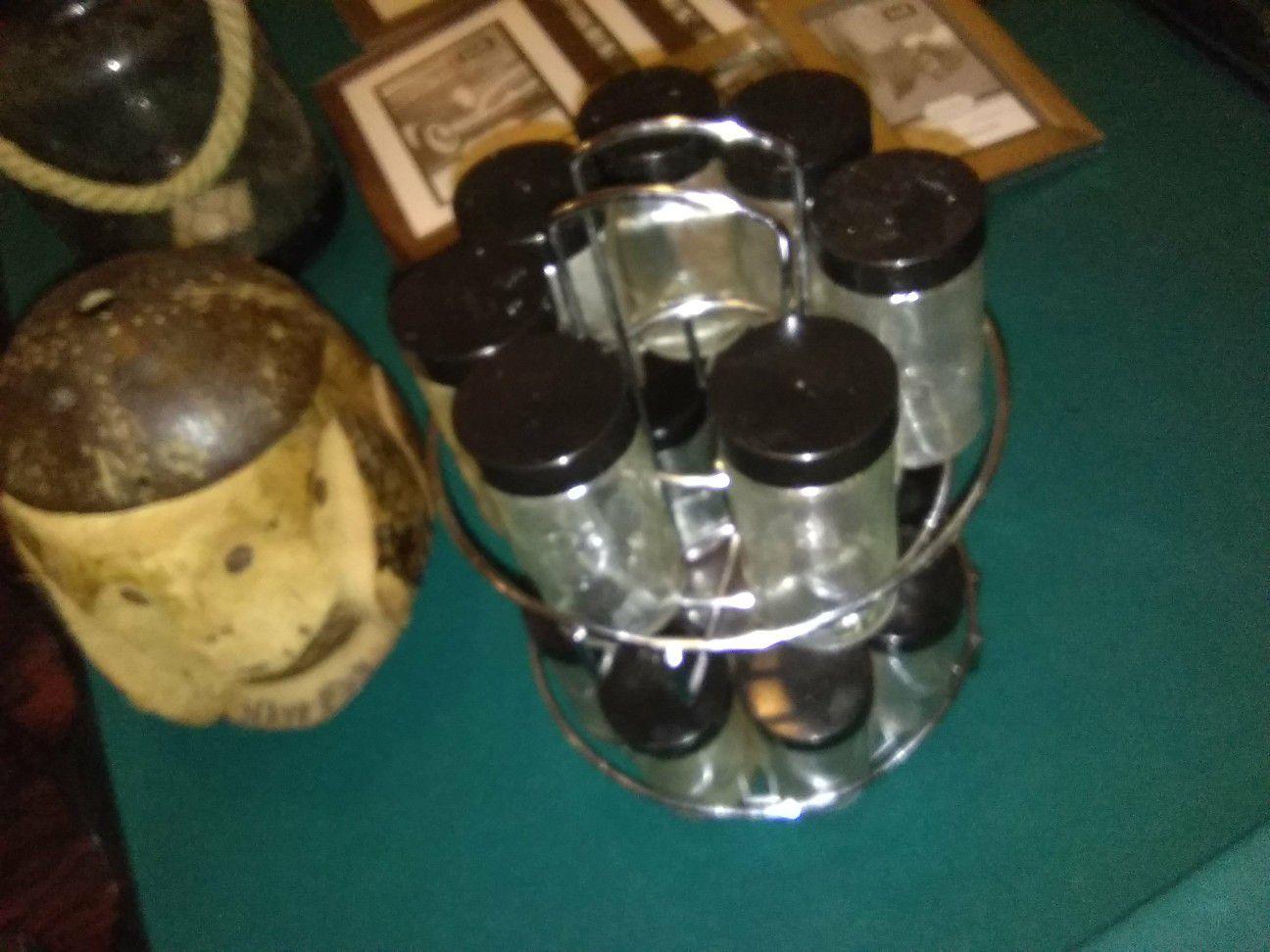 Spice rack with 15 empty jars