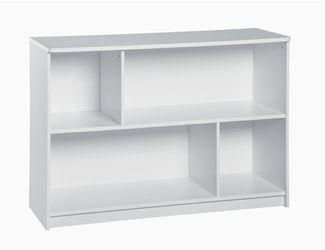 Sturdy 2-Tier Horizontal Storage Shelf/ Bookcase, White Thumbnail