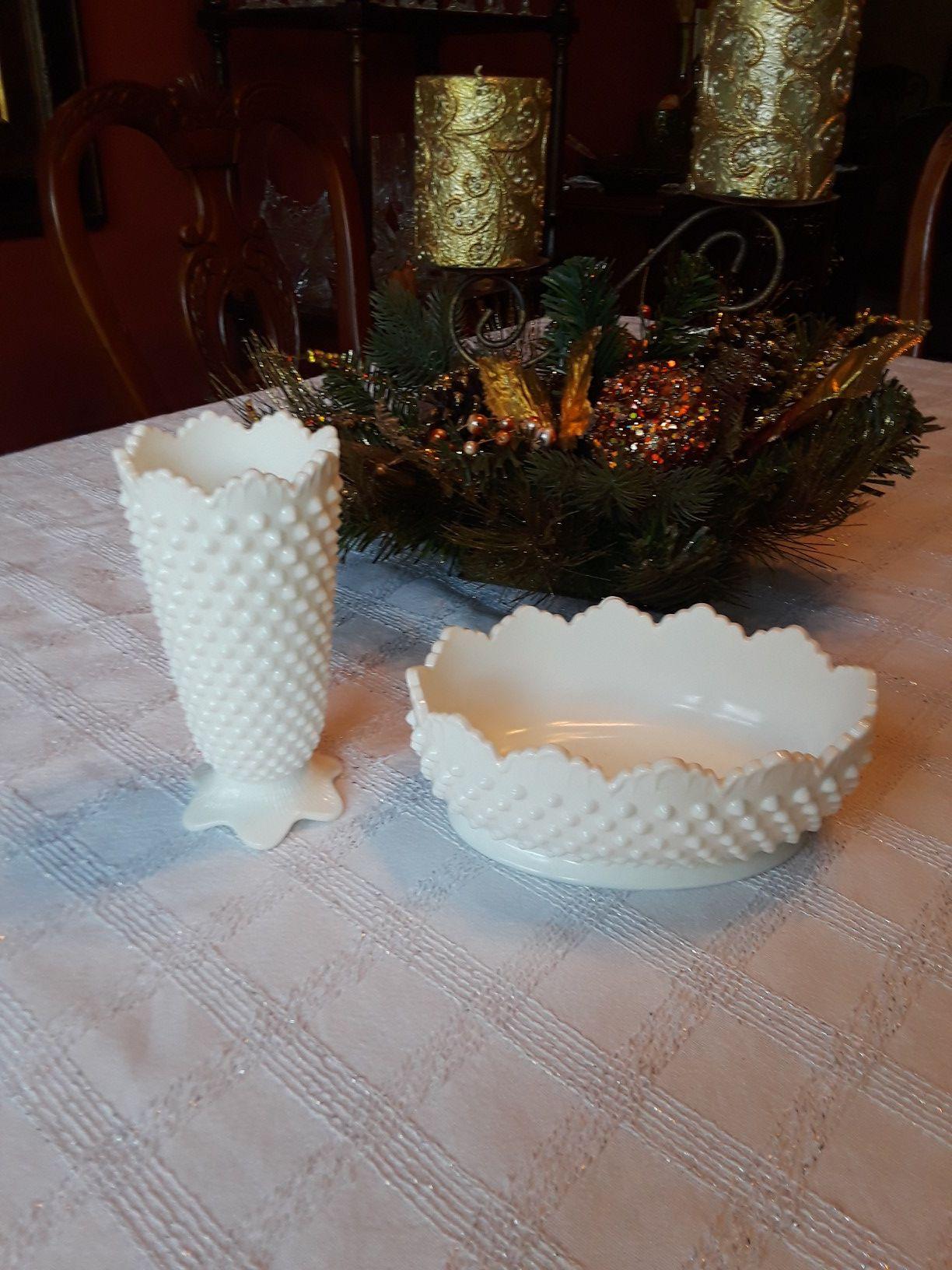 2 piece set of white milk glass