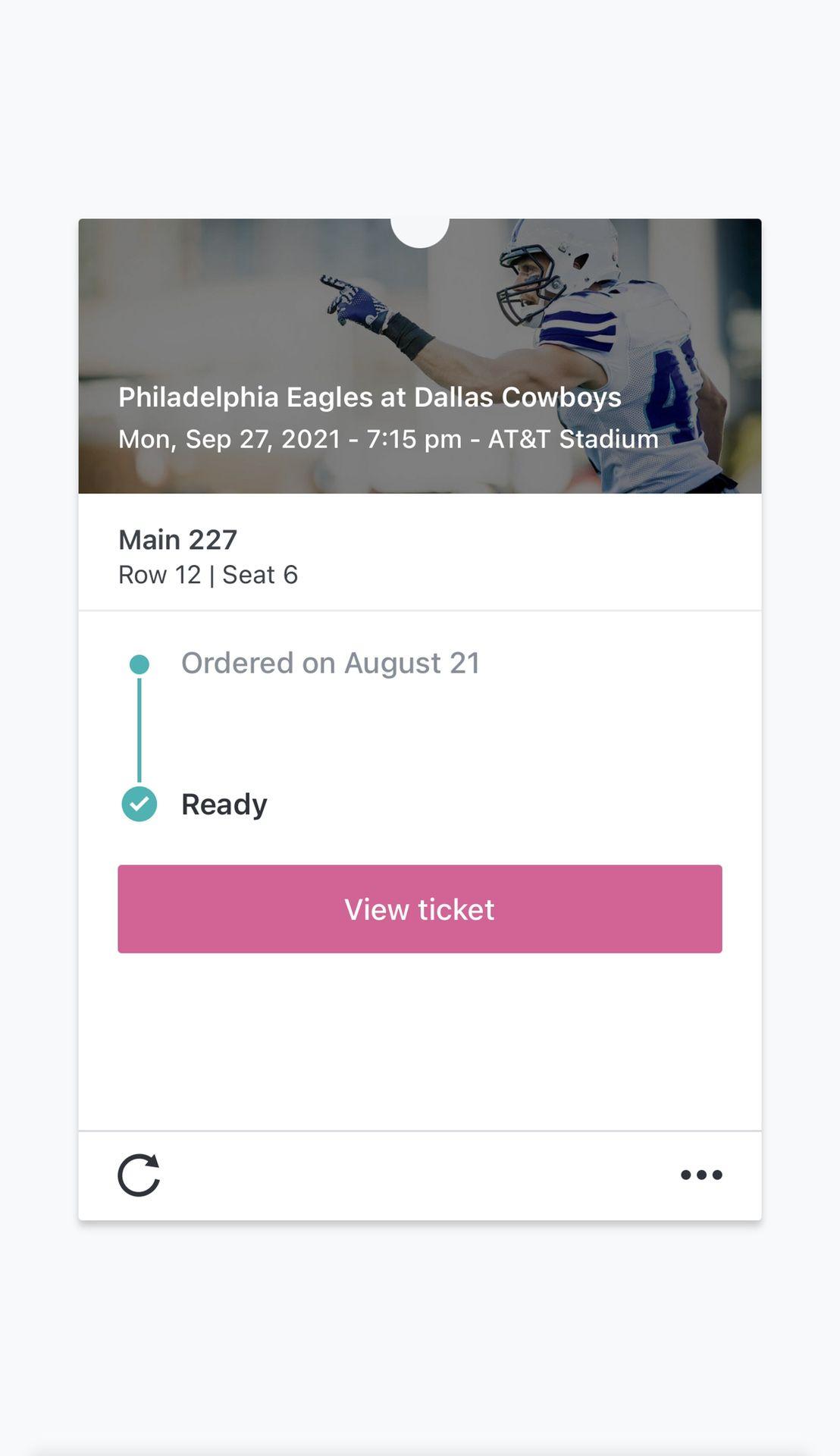 Cowboys Vs Eagles Sep 27th 2021
