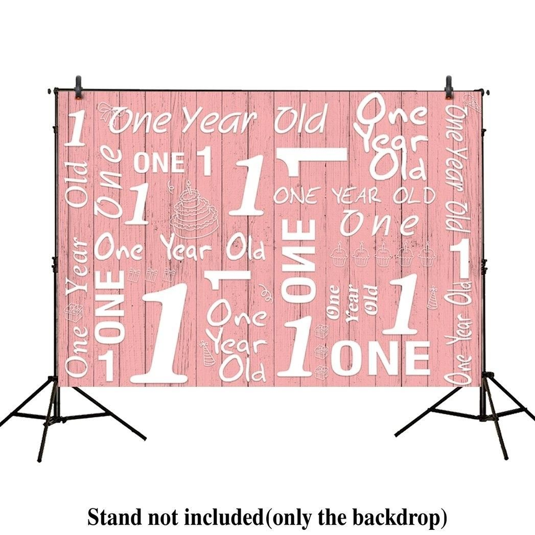 7x5ft photography backdrops 1st birthday party event banner pink wood floor Newborn props photo studio booth background