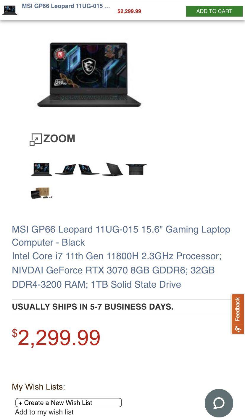 MSI gp66 Leopard RTX 3070
