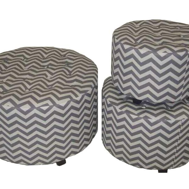 Saltoro Sherpi Marvellous and Lovely 3pc Wood Linen Round Ottoman by Entrada by Entrada