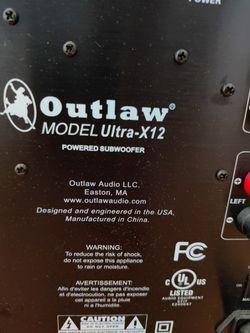 Outlaw Audio Ultra-X12 Subwoofer.  Svs, Hsu Research, Klipsch, Polk, Jbl, Kef, Parasound, Emotiva,  Thumbnail