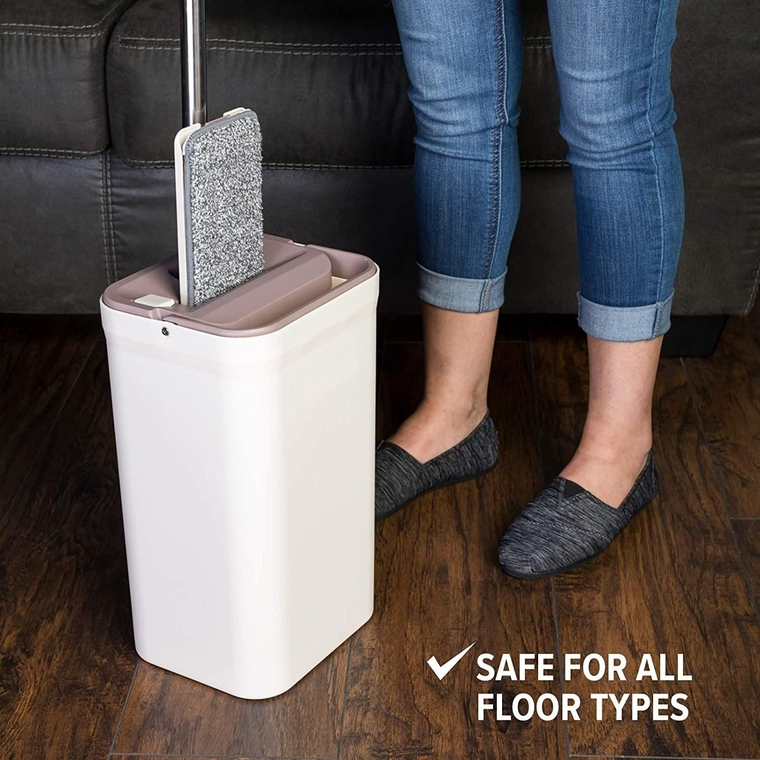 Micro Flat Mop Hands-Free Wringing - 3 Washable & Reusable Microfiber Mop Pads Wet or Dry on Wood, Marble, Tile,
