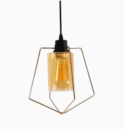 Brand New In Box Amber Glass Gold Pendant Light / Hanging Lamp