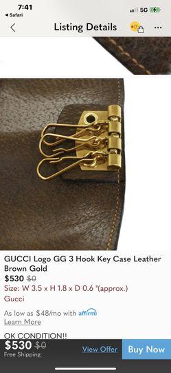 "Gucci ""GG Logo"" 3 Key Leather Case VINTAGE/Perfect Thumbnail"