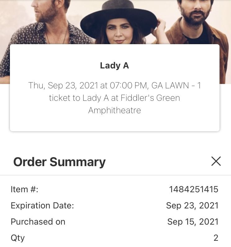 2 Lady A Tickets This Thursday In Englewood
