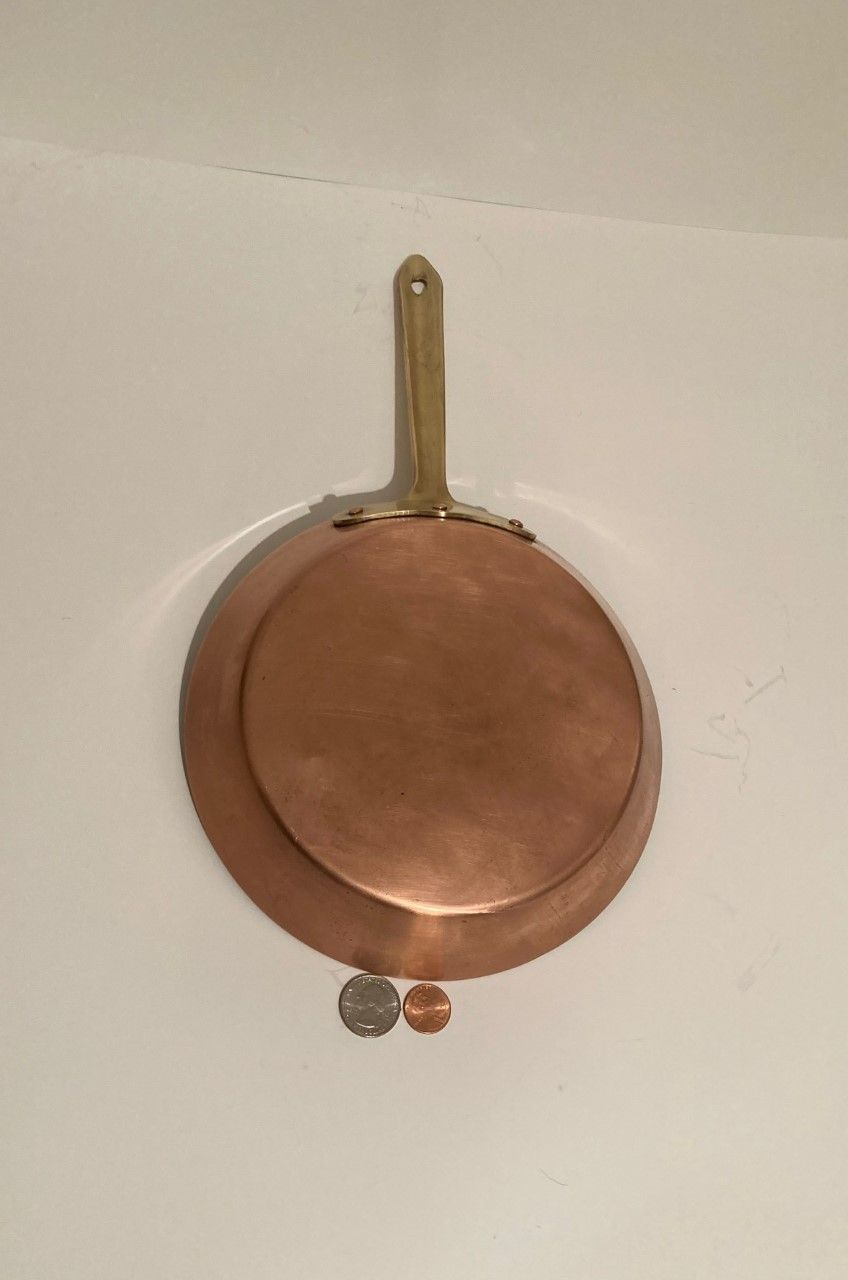 """Vintage Copper and Brass Frying Pan, Sauce Pan, 14 1/2"""" Long and 8"""" Pan Size, Made in Portugal, Quality, Eva Design, Cooking Pan, Kitchen Decor"""