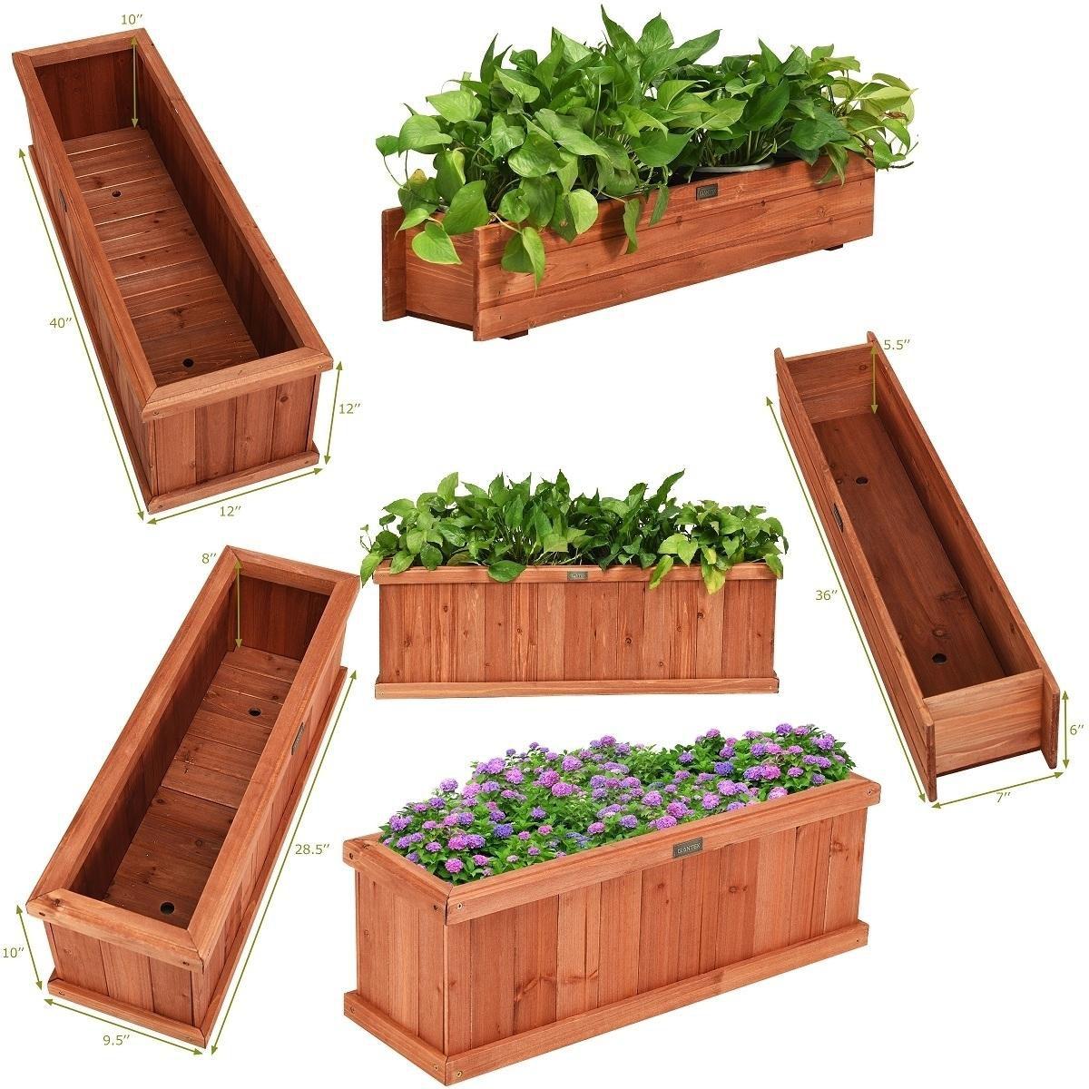 28/36/40 Inch Wooden Flower Planter Box Garden Yard Decorative Window Box Rectangular Size 40 Inch