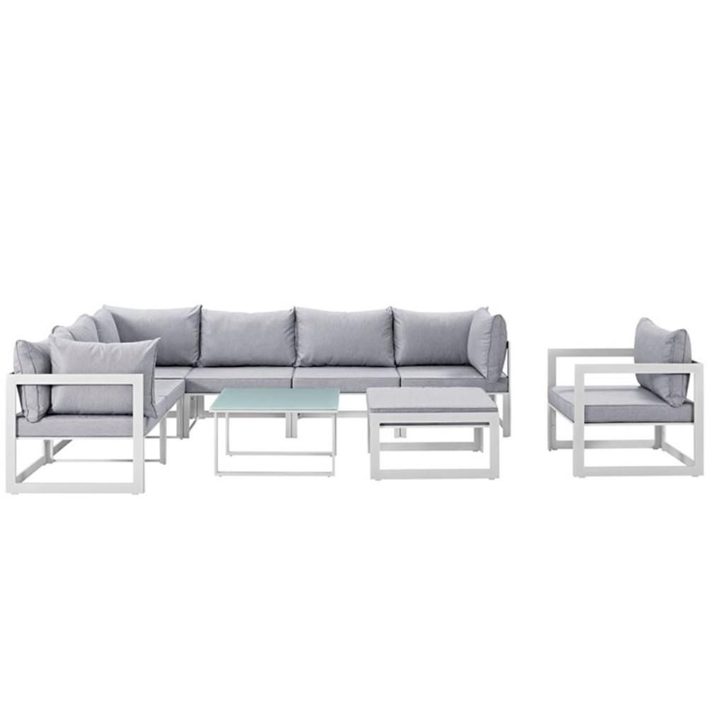 Fortuna 9 Piece Outdoor Patio Sectional Sofa Set, White Gray